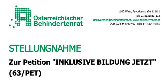 Screenshot der Überschrift der Stellungnahme zur Petition des Österreichischen Behindertenrats. Um zur Stellungnahme zu gelangen auf das Bild klicken.