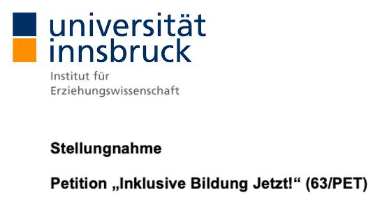 Screenshot der Überschrift der Stellungnahme zur Petition von Univ.-Prof. Dr. Lisa Pfahl, Universität Innsbruck. Um zur Stellungnahme zu gelangen auf das Bild klicken.